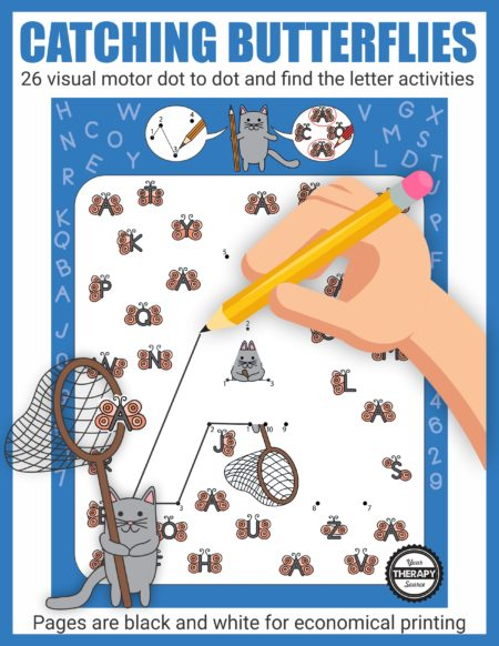 Catching Butterflies visual motor packet is an instant digital download of 26 activity black and white activity pages to practice visual motor, visual discrimination, and letter recognition skills.  Complete the dot to dot to reveal the letter.  Circle all of the matching butterfly letters.