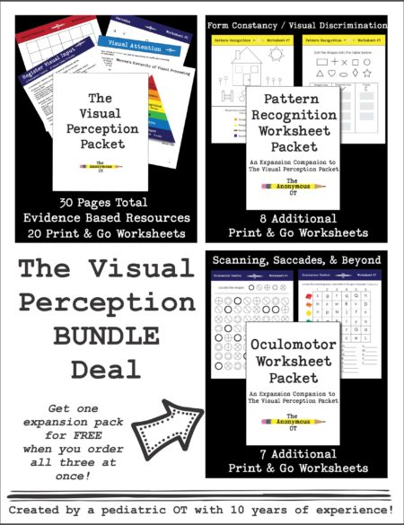 For one week only!  When you order The Visual Perception Packet BUNDLE Deal, which includes all three NEW visual perception packets, you will get one expansion packet for FREE!