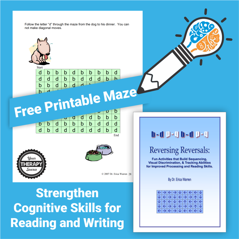 Do you work with students who struggle with letter identification or letter reversals?  This free maze will help strengthen cognitive skills for reading and writing by working on recognizing the correct letter.