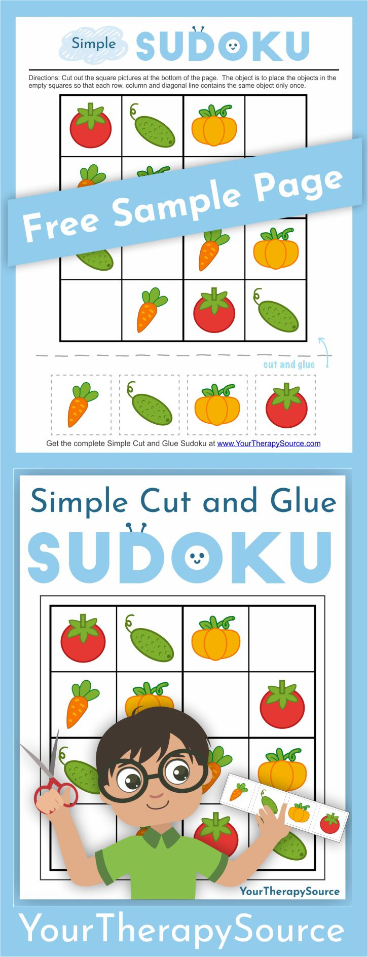 If you are looking for a one page printable to challenge fine motor and logic skills check out this freebie from the Simple Cut and Glue Sudoku download.