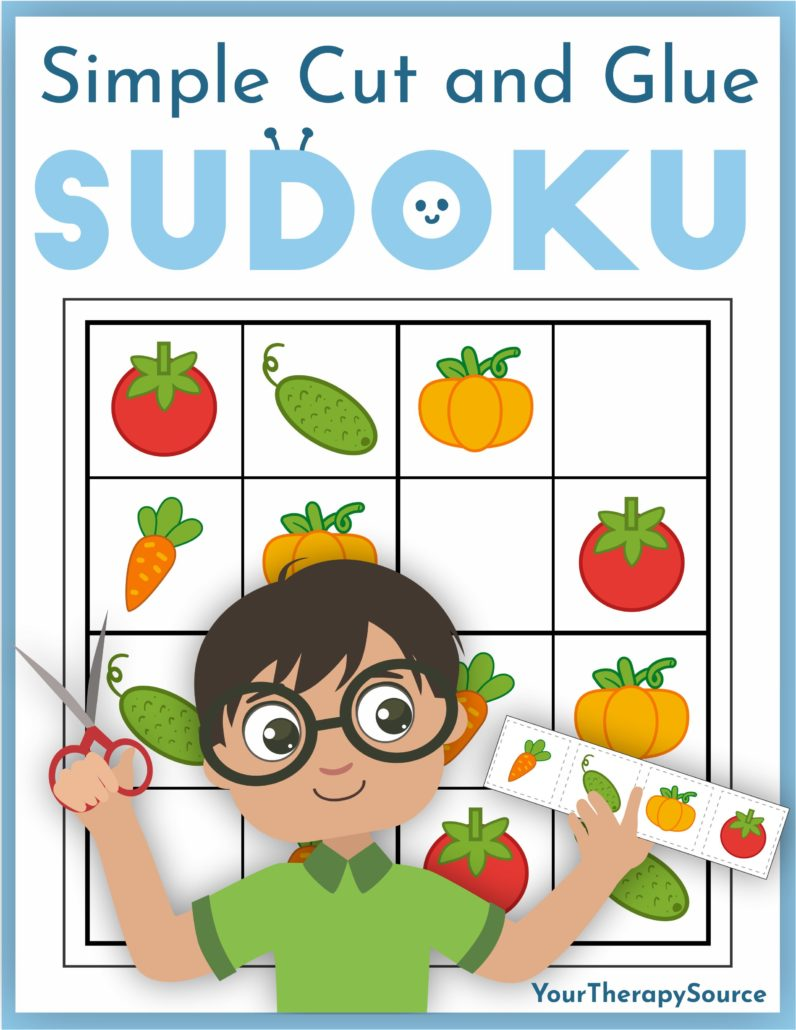 Simple Cut and Glue Sudoku for children includes 40 full-color puzzles to practice fine motor and visual perceptual activities. This digital download encourages children to have fun while they build key developmental skills.
