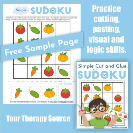 Simple Cut and Paste Sudoku for children includes 40 full-color puzzles to practice fine motor and visual perceptual activities.  This digital download encourages children to have fun while they build key developmental skills.