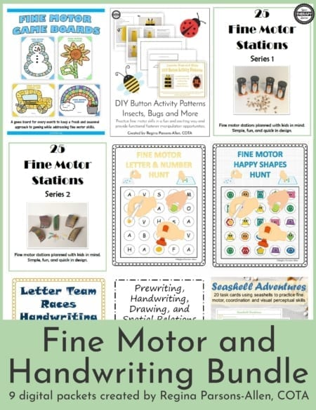 The Fine Motor and Handwriting Bundle includes 9 digital downloads to encourage fine motor, visual motor and handwriting practice using simple materials.