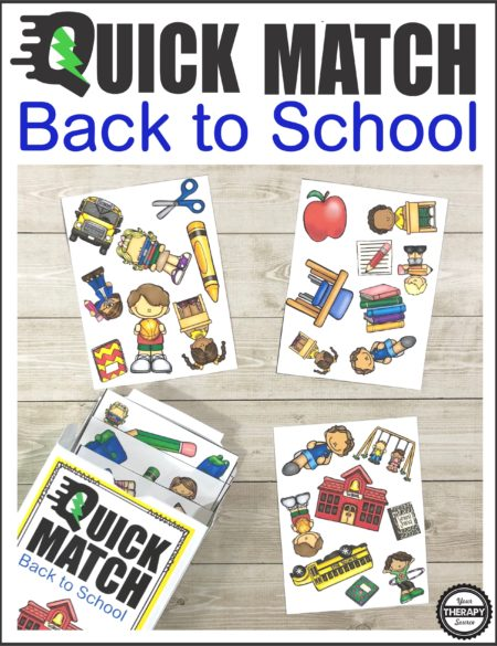 The Back to School Quick Match Card Game is a digital download that includes 54 cards and the box template to print and play.  Challenge visual perceptual skills and quick timing with this SUPER FUN game.