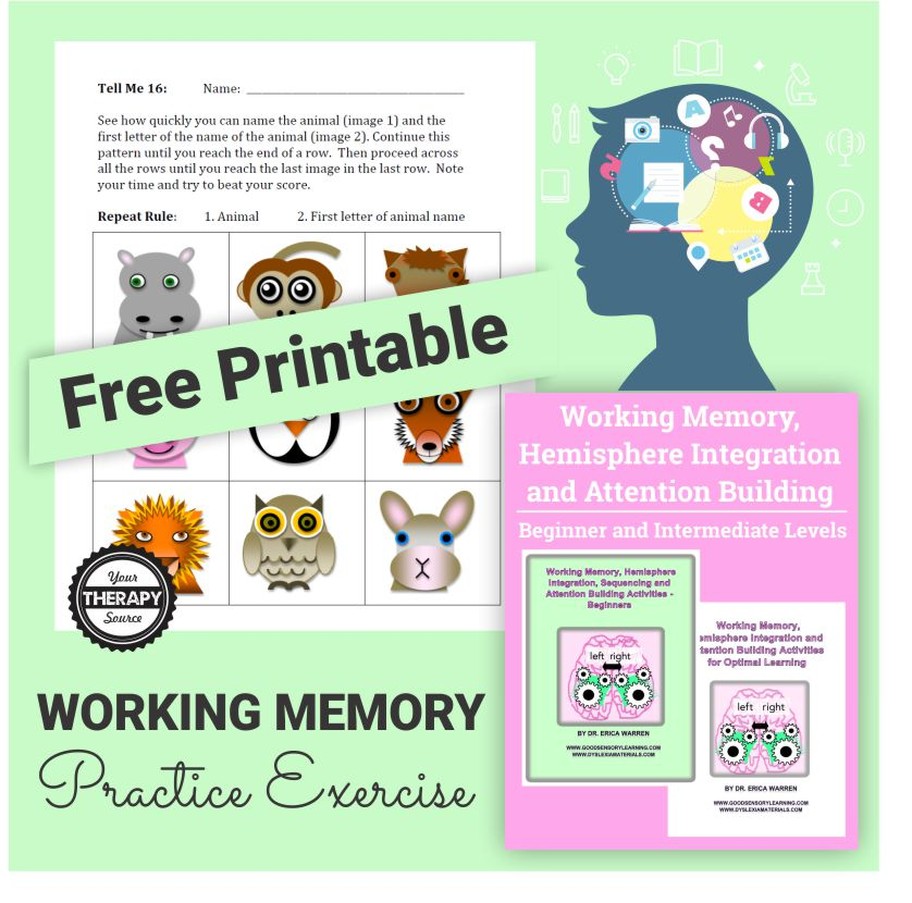 graphic relating to Short Term Memory Exercises Printable identify Performing Memory Teach Fitness - Your Treatment method Resource
