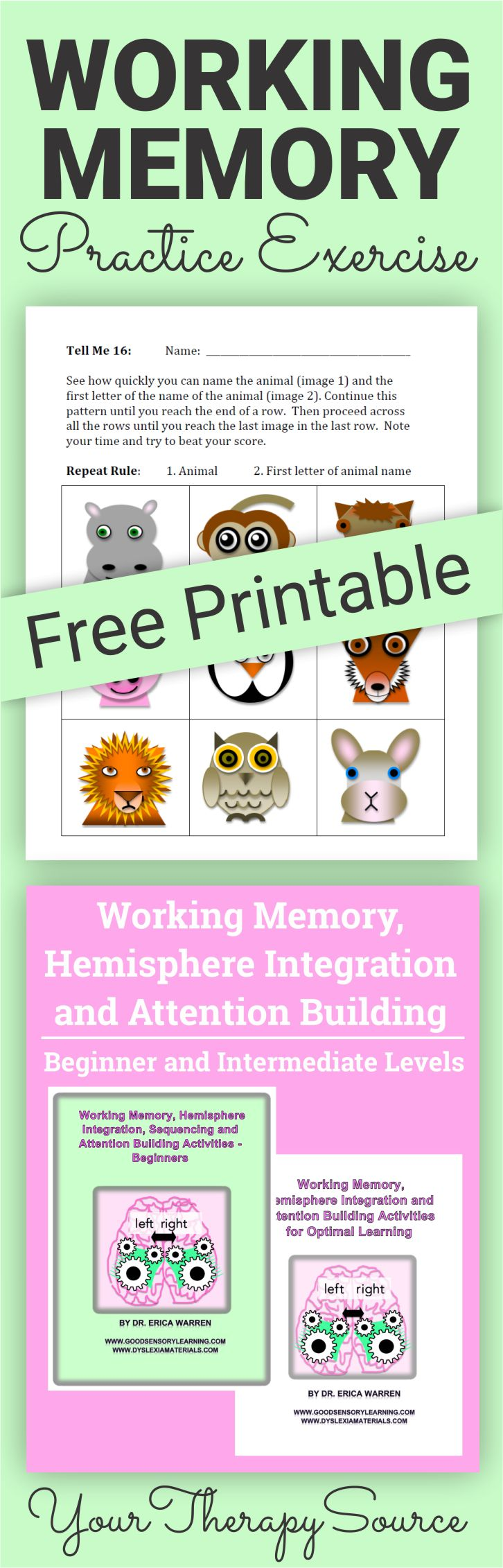 picture regarding Short Term Memory Exercises Printable titled Doing work Memory Prepare Health and fitness - Your Remedy Useful resource