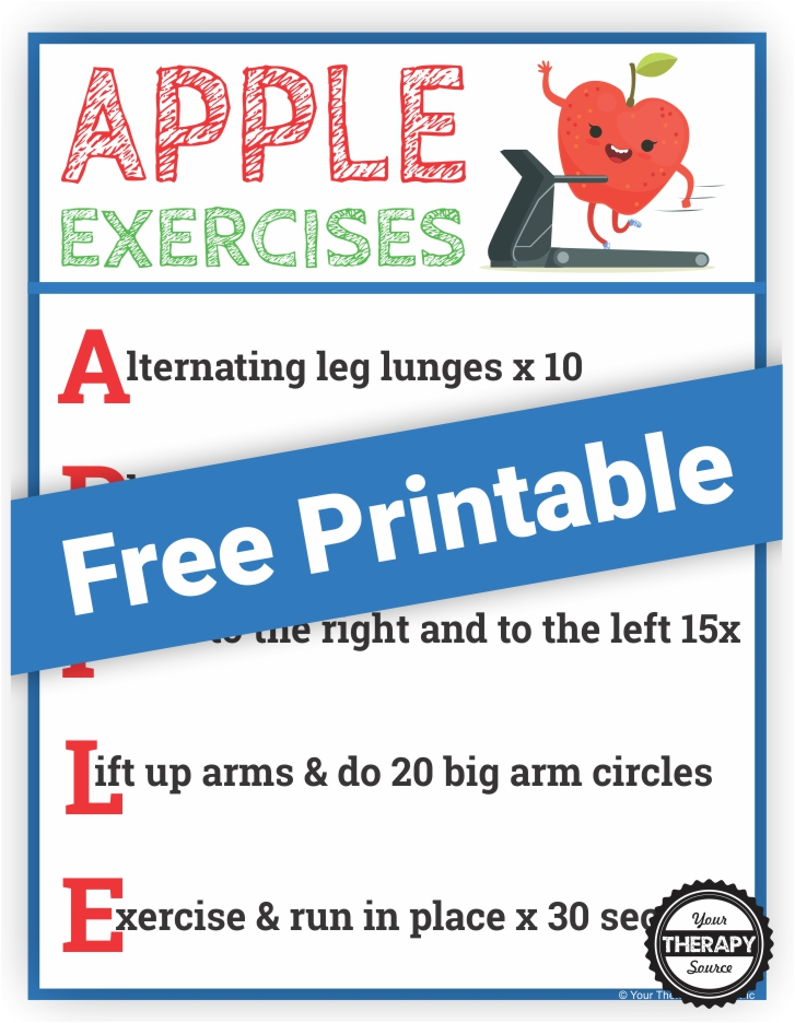 Apple Gross Motor Activity - Free Printable - Your Therapy ...
