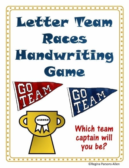 The Letter Races Handwriting Game incorporates fine motor and visual motor skills in a FUN team game. Practice scissor skills, handwriting, and more!