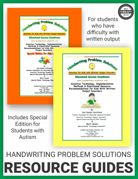 This bundle includes both Handwriting Problem Solutions Resource Guides. Thesedigital download is a resource guide for parents and professionals working with students with educationally significant handwriting challenges that make it difficult/impossible for them to complete written schoolwork with paper and pencil.