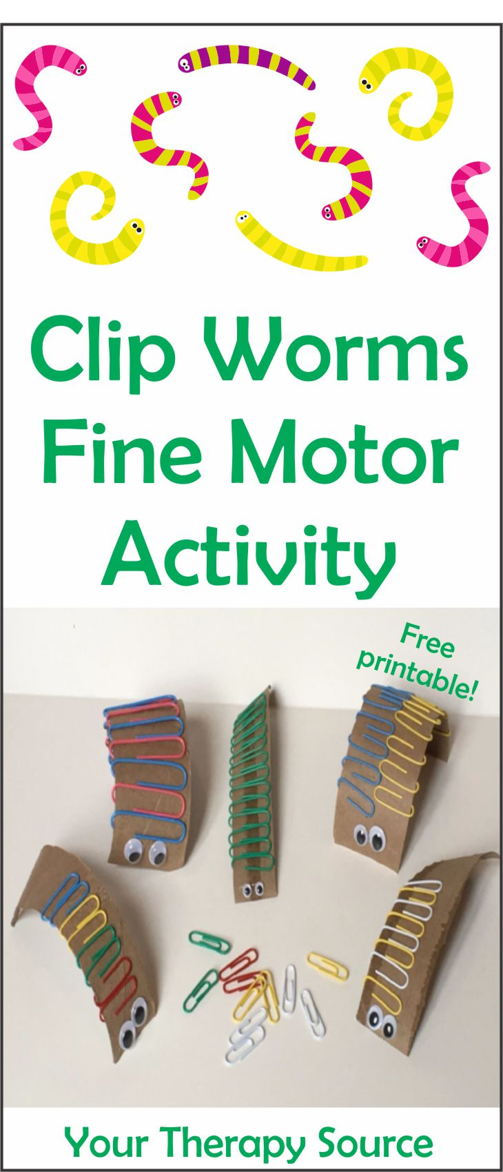The clip worm fine motor activity is a simple and economical challenge for little fingers and hands.  To start, dig through your recycle bin and grab some cardboard!  You can download a FREE hand out of this activity at the bottom of the post.