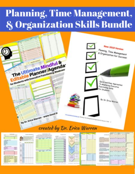 Are you in search of methods and strategies to help support students in the areas of organization, time management and planning?This Planning, Time Management, and Organization skills bundle,created by Dr. Erica Warren, a learning specialistwill help students master executive functioning skills.