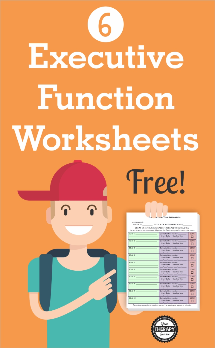 When executive function deficits are present, students can become frustrated, disengaged and give up.  Here are 6 FREE executive functioning activity worksheets to help students succeed.