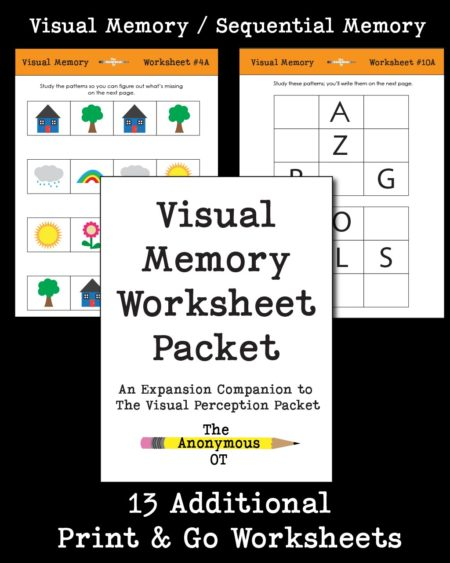 The Visual Memory Worksheet Packet includes 13 different, NO PREP activities to address a wide variety of visual memory, pattern recognition, and visual attention skills. They can also be graded up or down depending on the skill level of the child.