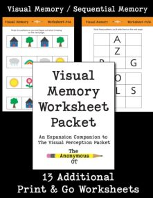 The Visual Memory Worksheet Packetincludes 13 different, NO PREP activities to address a widevariety of visual memory, pattern recognition,and visual attention skills. They can also be graded up or down depending on theskill level of the child.