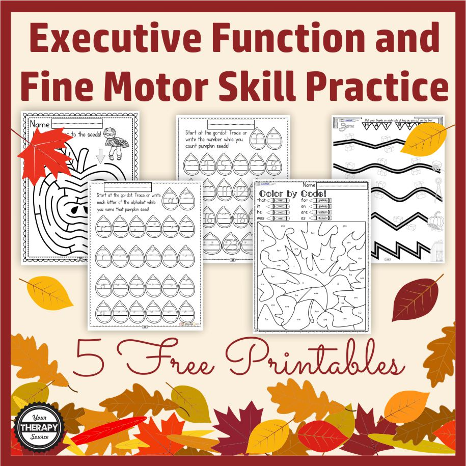 It is that time of year - crisp air, falling leaves, pumpkins, turkeys and more.  Add in some skill practice with these 5 FREE executive functioning and fine motor activities for Fall.  Children with love the variety and you will love the NO PREP, economical black and white printing.  These free sample pages are from the Occupational Therapy Tools: Fine-Motor, Executive Functioning – Fall Theme complete digital download.