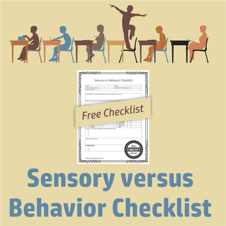 "If you are a school-based Occupational Therapist, teacher, or a parent of a child with sensory processing difficulties, then you often ponder the question when a child ""misbehaves"" was it due to sensory concerns or behavior. This FREE sensory versus behavior checklist can act as a guide when you observe a child's behavior"
