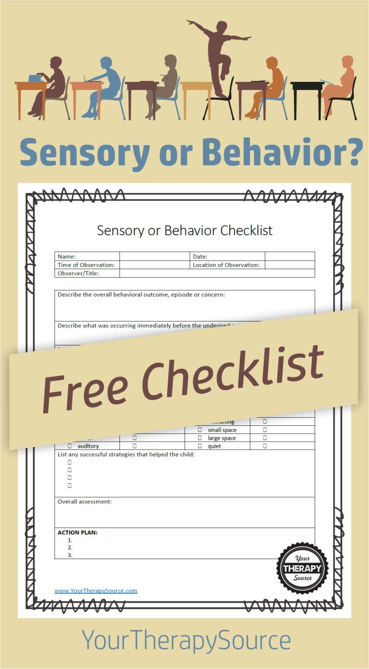 sensory versus behavior checklist your therapy source