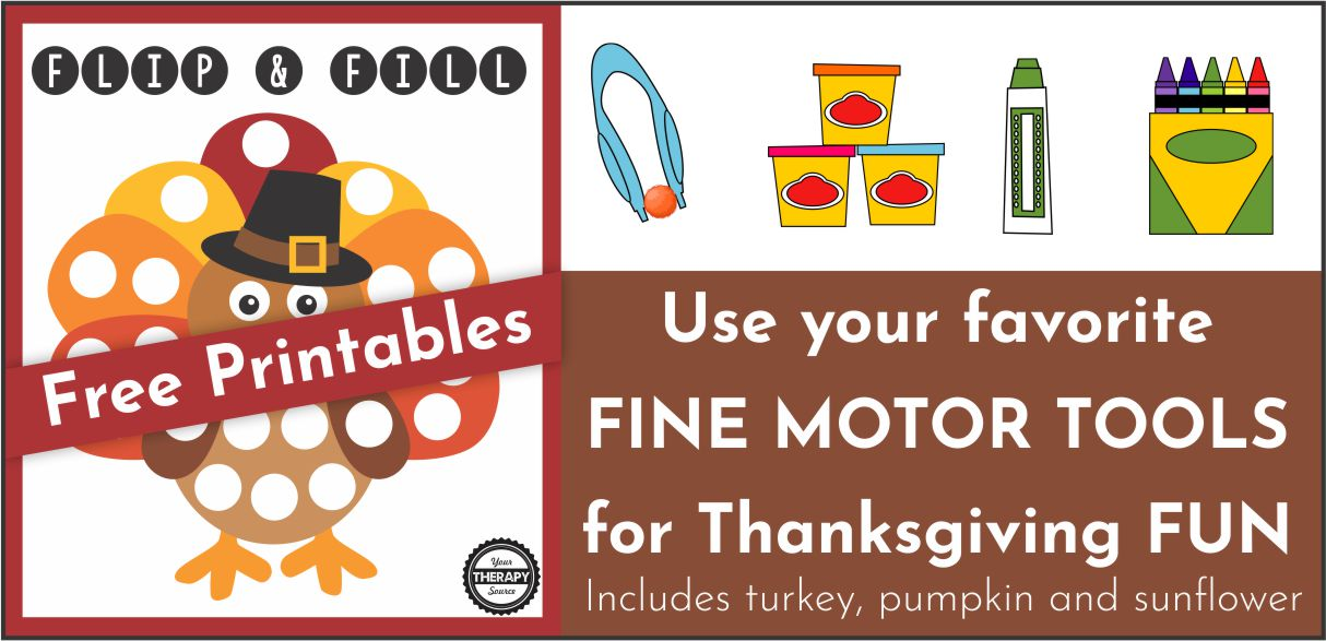 Are you looking for some FREE Thanksgiving fine motor fun?  This free printable mini pack includes 2 different Flip and Fill fine motor games with a Thanksgiving theme.