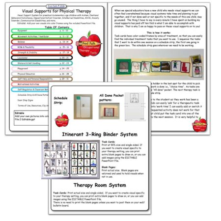 Visual supports for Physical Therapy can be an extremely helpful tool that almost magically improves engagement and helps to ensure that treatment sessions are effective. Visual supports for Physical Therapy include task cards to be used for a variety of settings including clinic, itinerant, and classroom situations.