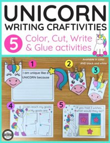 This bundle deal includes 2 creative packs for Unicorn lovers.  The Unicorn Writing Activities with Unicorn Writing Paper consist of one 20 page PDF packet with 5 craftivities and one 6 page unicorn writing paper pack.