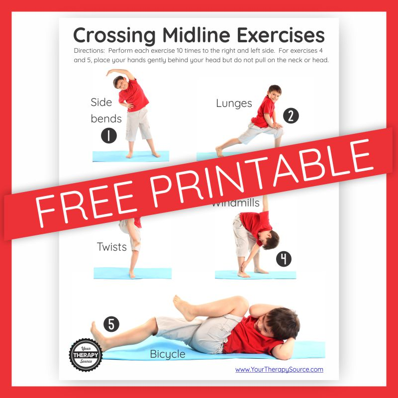 Crossing Midline Exercises - get your FREE printable at YourTherapySource.com