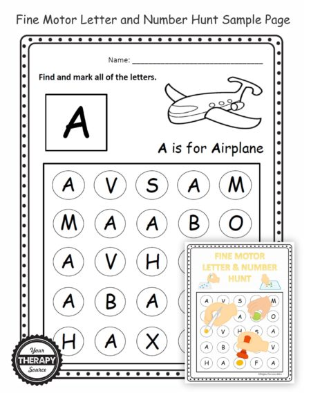 The Fine Motor Letter and Number Hunt digital download includes NO PREP, black and white worksheets to practice fine motor skills, visual discrimination skills, visual tracking skills, and letter/number recognition.