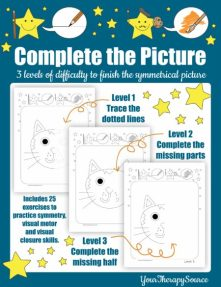 The Complete the Picture digital download includes 25 exercises with three levels of difficulty to practice symmetry, visual motor, and visual closure skills.