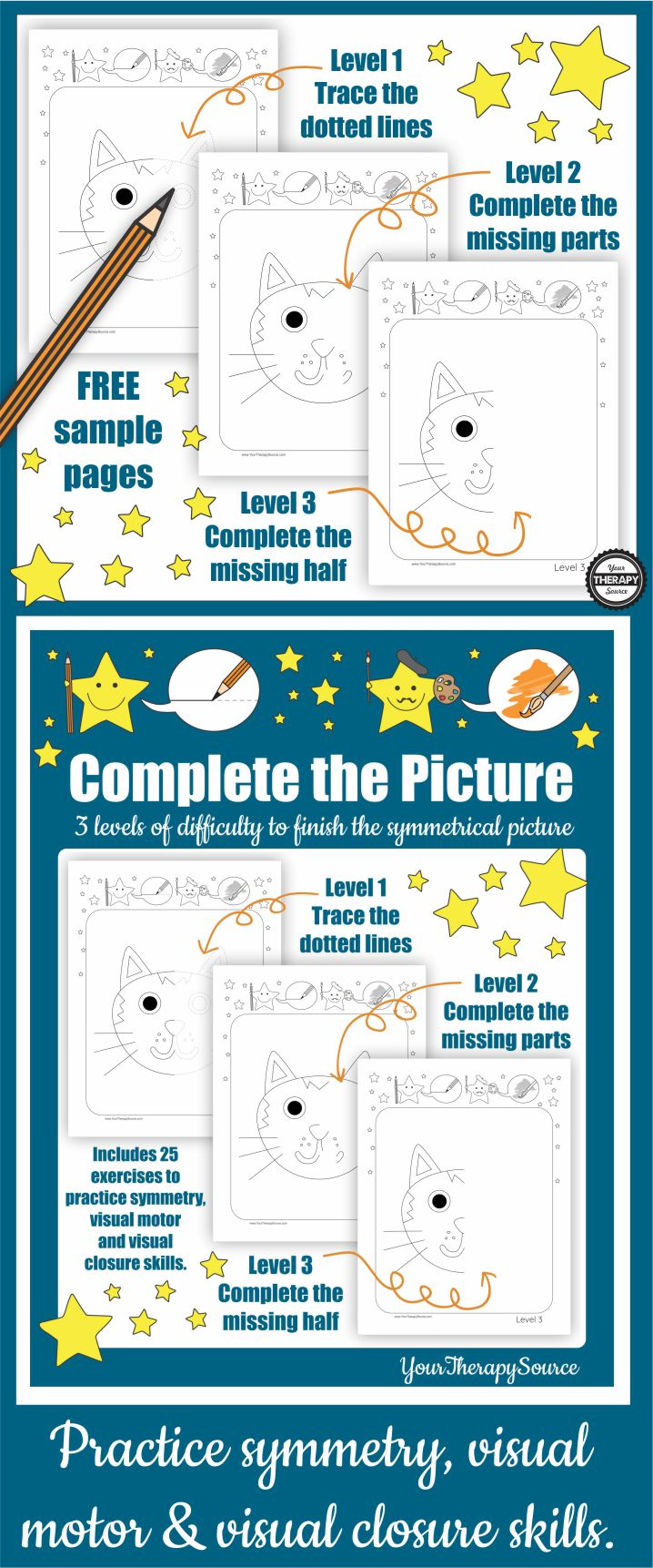 Do you need an activity to practice symmetry, visual motor and visual closure skills?  These cat finish the picture printables are FREE (download at the end of the post).  It includes three levels of difficulty