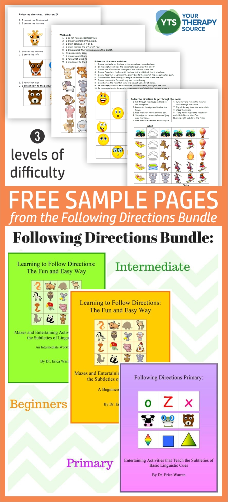 Do you work with students who need to practice following oral and written directions?  This FREEBIE includes 4 sample activities from the Following Directions Bundle.