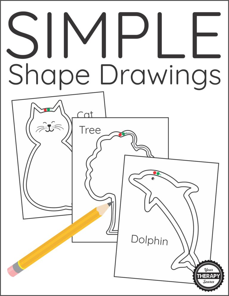 The Simple Shape Drawings digital download includes 20+ simple animals and objects to draw around the outline.  Students get tired of practicing visual motor skills following a basic path, use these activities to draw something instead.  The animals and objects include cat, airplane, rabbit, unicorn, guitar, dog, football, snake, dolphin, tree, flower, dinosaur, bear, apple, owl, moon/stars, lizard, boy, girl, wolf, turtle, and seahorse.