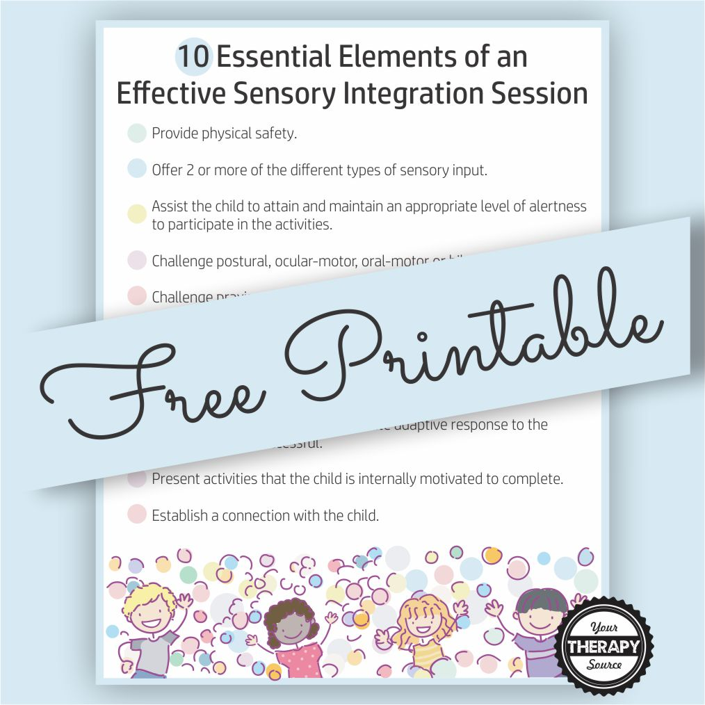 Whether you are a seasoned therapist or a beginner, this Free Poster - Strategies for Effective Sensory Integration Sessions provides a visual reminder to help children achieve functional goals during a sensory integration session.