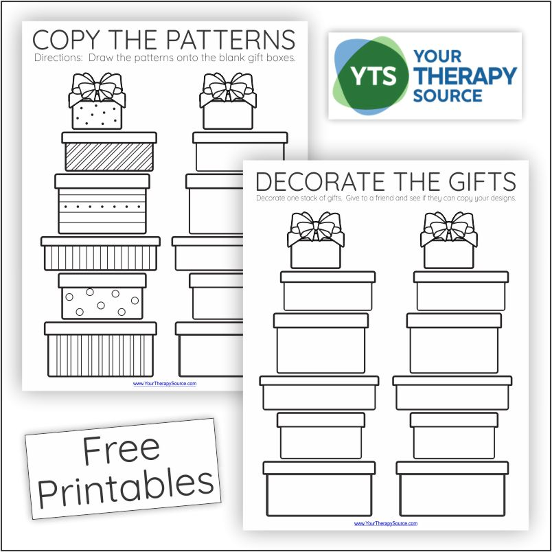 If you are in search of a generic visual motor activity for any holiday or birthday celebration, check out this visual motor freebie, decorate the gifts.