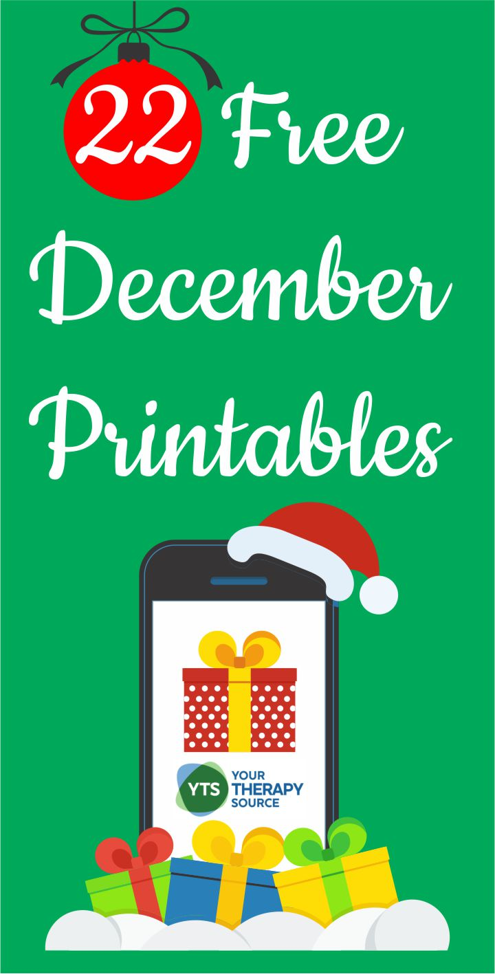 Need some last minute ideas to encourage fine motor, visual motor and gross motor skills during December?  Check out this list of 22 free printables for December.