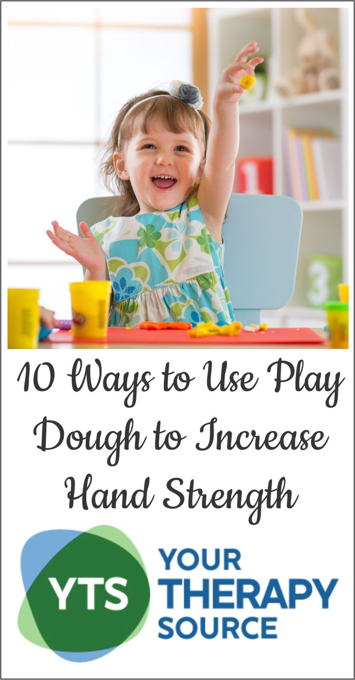 Play dough is an amazing, simple tool to help children increase muscle strength in the fingers and hands, expand creativity and encourage imagination.  Below are 10 ways to use play dough to increase hand strength.