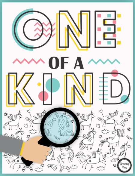 One of a Kind Visual Perceptual Puzzle Pack digital download includes 27 black and white FUN puzzles to challenge your ability to spot the odd one out.  Each puzzle requires you to find the one animal or object that does not have a match.  The whimsical doodle pages include various themes such as cats, unicorns, dogs, whales, sweet treats, boats, dinosaurs, fairies, mermaids, superheroes and more!