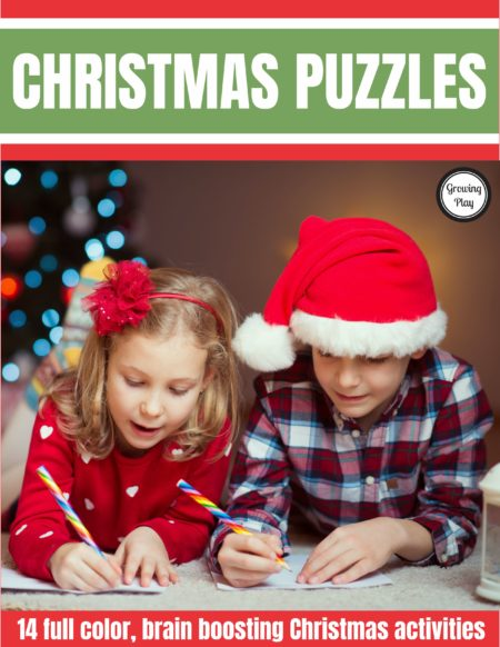 Growing Play has created the Christmas Puzzles digital download packet which includes full color, brain boosting, FUN Christmas activities to complete.  Look and find challenges, mazes, puzzles and more all for when the kids need some extra entertainment this holiday season.