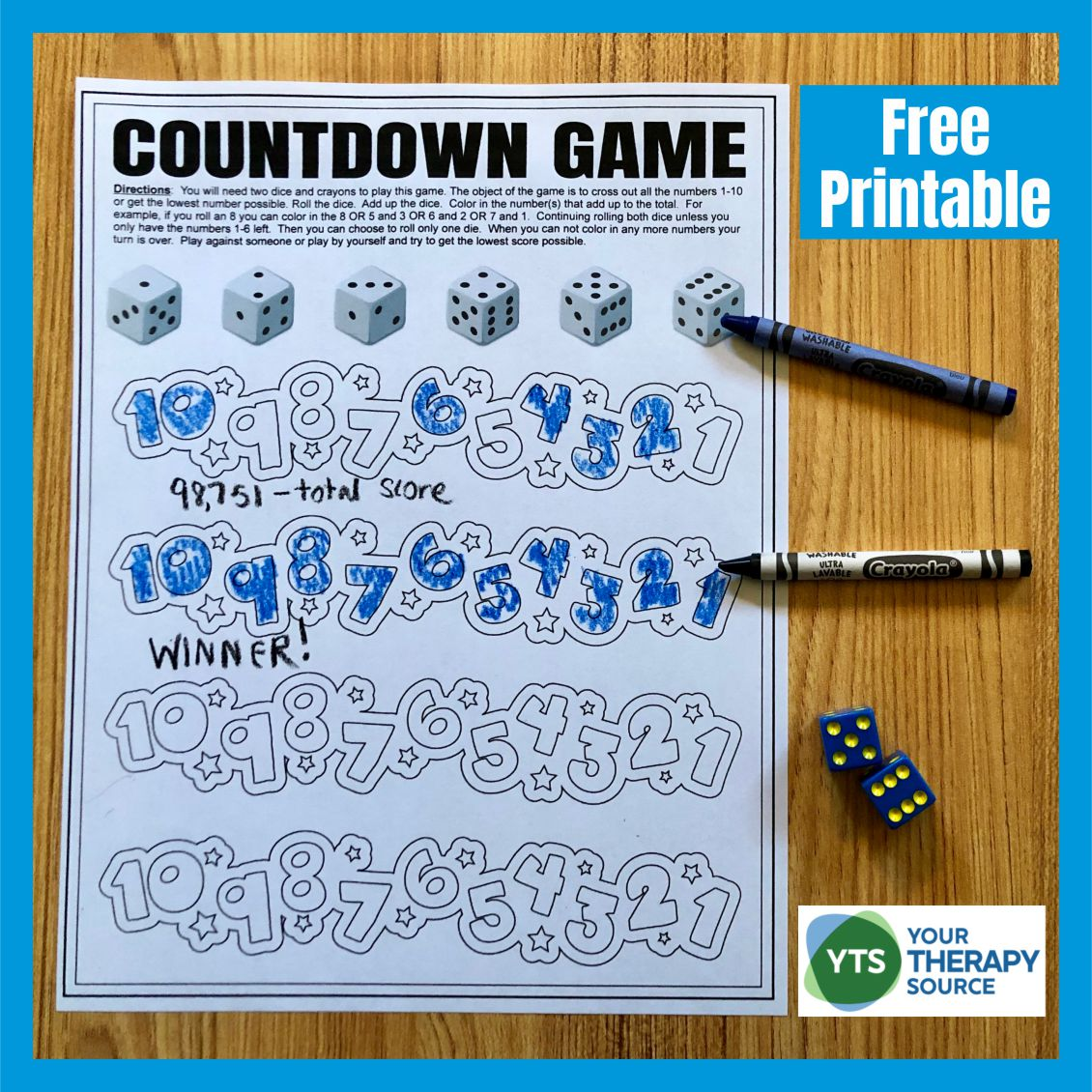 Need a New Year's Eve countdown game?  Check out this dice game for your New Year's Eve celebration with the children.  It is just like Shut the Box.  You can play with one player or four players.  Download your free New Year's Eve Countdown Game at the bottom of the post.