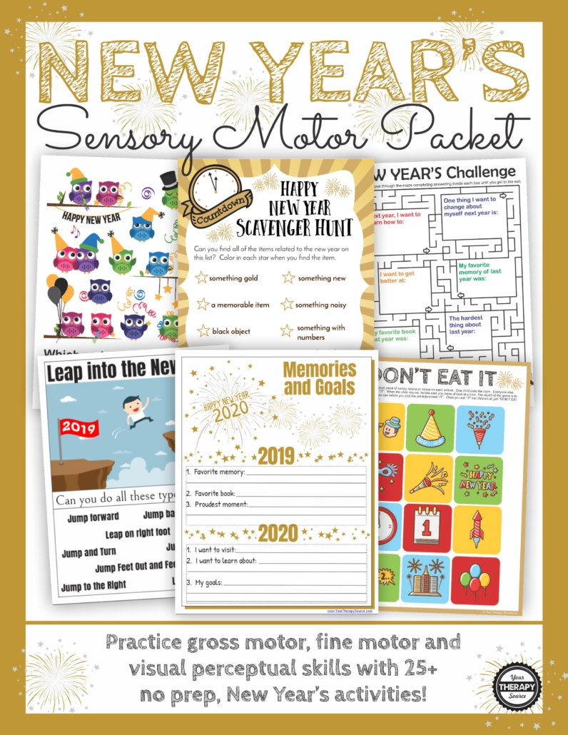 New Year's Sensory Motor Packet: Celebrate with these Happy New Year Games, Puzzles and More to ring in 2020. Fun for home and school!