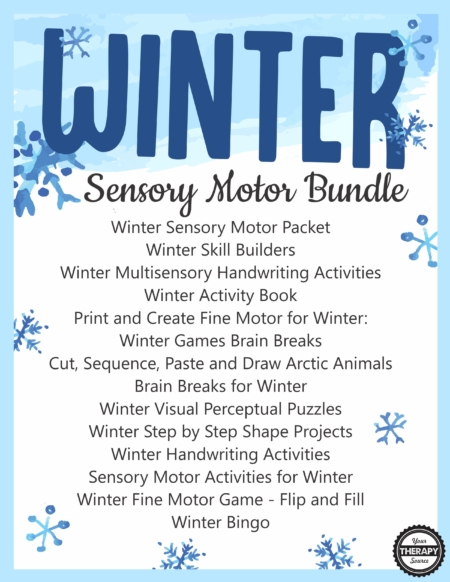 The Winter Bundle for Fine Motor, Gross Motor, and Visual Perceptual Activities includes 14 downloads to jump-start your Winter planning and encourage motor skill development in children.