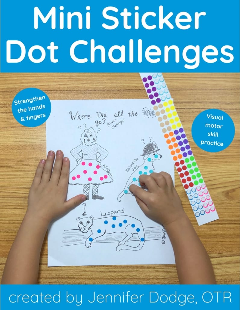 Looking for a new, fun occupational therapy designed activity for elementary-aged children to work on fine motor-visual development (and some math objectives) while having fun?  These unique, hand-drawn, Mini Sticker Dot Challenges are awesome!  This activity packet was created by school-based Occupational Therapist, Jennifer Dodge.