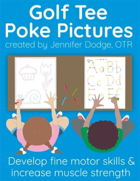 "This Golf Tee Poke Packet provides excellent activities for classrooms stations/centers, ""my work's all done"" activities, or even indoor recess. Voila!  This packet is designed to use with golf tees (Pro-tip: use a short 1.5"" tee for best grasp). So it can be set up with distant supervision for everyday use in the classroom.  Kids love poking holes and they don't even realize they're working on school skills."