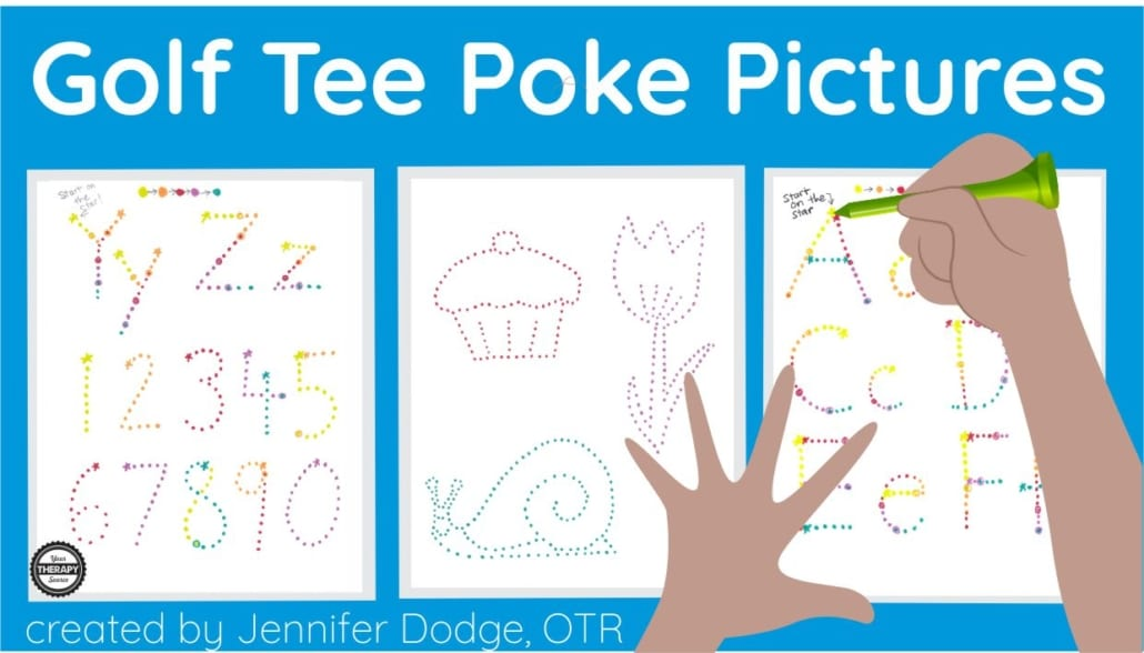 "This Golf Tee Poke Packet provides excellent activities for classrooms stations/centers, ""my work's all done"" activities, or even indoor recess. Voila!  This packet is designed to use with golf tees (Pro-tip: use a short 1.5"" tee for best grasp). So it can be set up with distant supervision for everyday use in the classroom.  Kids love poking holes and they don't even realize they're working on school skills.  You will need golf tees and soft cardboard or old mouse pad to put under the paper to poke the holes."