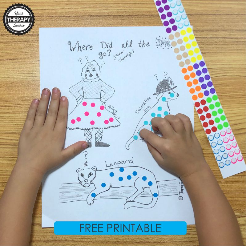 This sticker activity sheet for fine motor skill development is super cute, hand-drawn and you can download and print it for FREE!