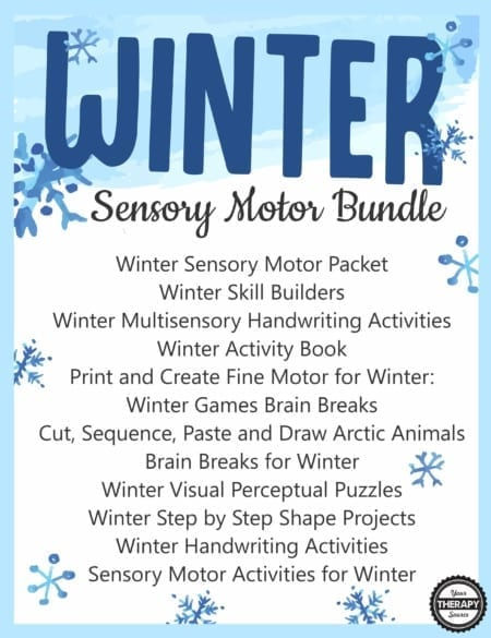 The Winter Bundle for Fine Motor, Gross Motor, and Visual Perceptual Activities includes all of the titles below to jump-start your Winter planning to encourage motor skill development in children.