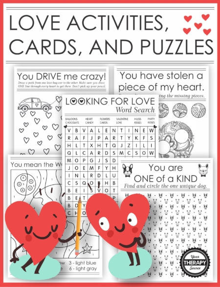 The Puzzles About Love digital download includes 20 printable black and white activities, cards and puzzles to give to someone you admire or appreciate.