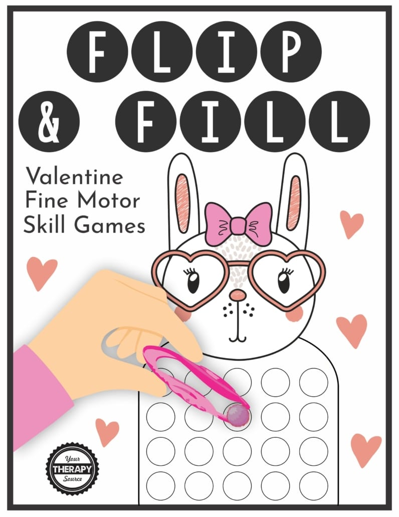 The Flip and Fill Valentine Fine Motor Game digital download includes 10 different valentine game boards to practice fine motor skills and encourage hand strengthening.