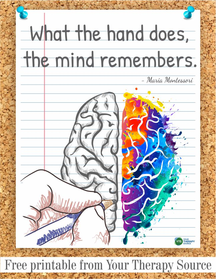 Do you ever stop to think about the benefits of writing by hand?  Are students and adults losing out on the benefits of writing by hand due to technology?  What the hand does, the mind remembers. - Maria Montessori