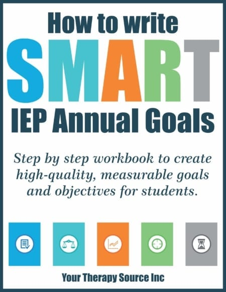 The How to SMART Write IEP Goals Workbook digital download provides a step by step guide to help you create high-quality, measurable goals and objectives for students.