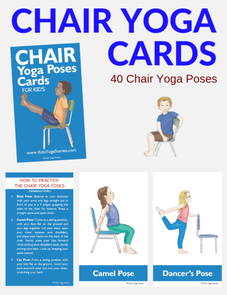 If you need yoga poses for the classroom this is the BEST card set ever! It includes 40 illustrated and explained printable chair yoga poses for kids.