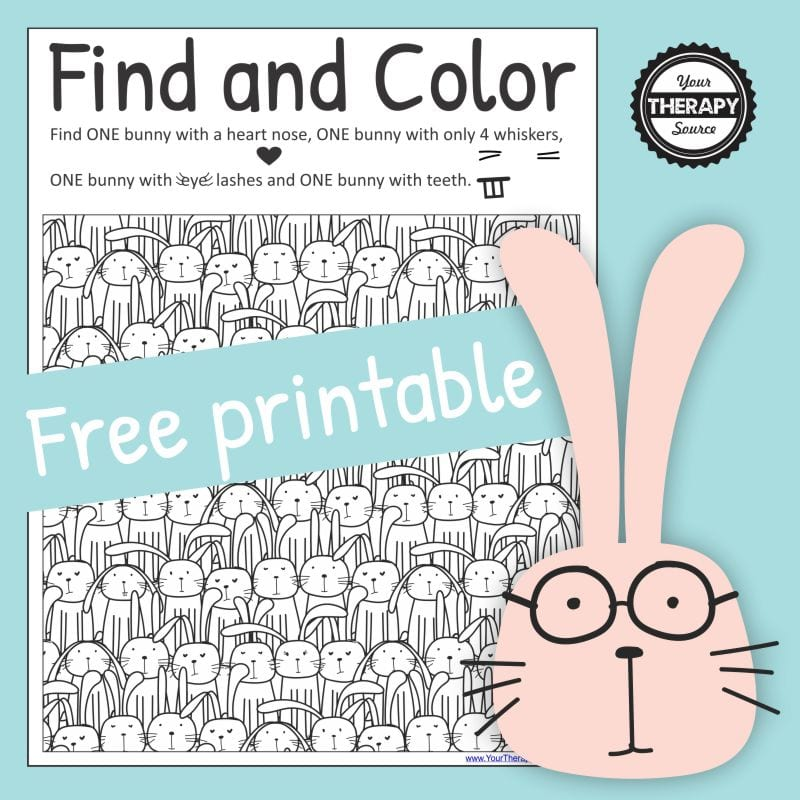 I love to create visual perceptual puzzles and this cute bunny coloring page and puzzle is adorable. Created by Your Therapy Source.
